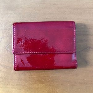 Lodis Red Patent Leather Trifold Wallet